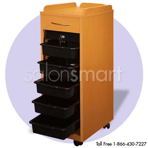 Beauty Trolley with Locking Slide-Down Door in Black Or Cherry Wood Finish alternative product image 2