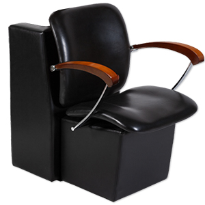 Black Delano Hair Salon Dryer Chair with Wood Arms product image