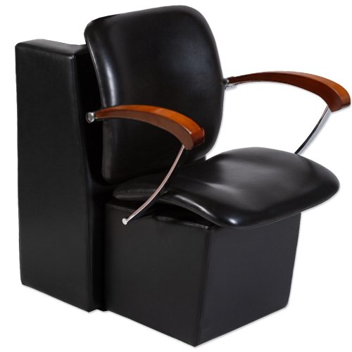 Black Delano Hair Salon Dryer Chair with Wood Arms  main product image