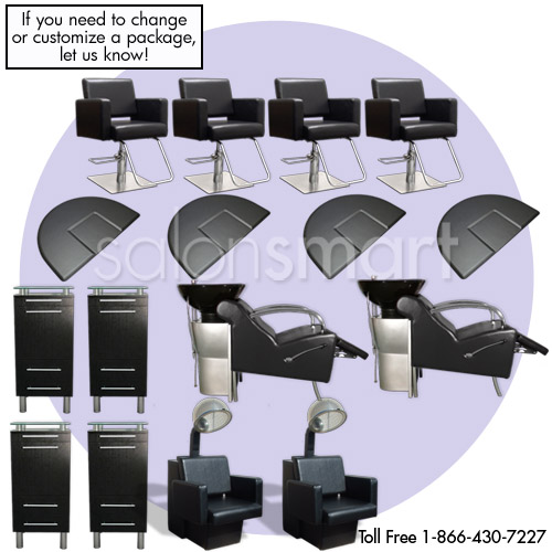 Black Essentials 4 Salon Styling Station Amy Package with Havana Chairs  main product image