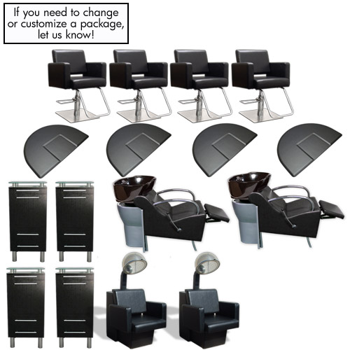 Black Essentials 4 Salon Styling Station Amy Package with Havana Chairs product image