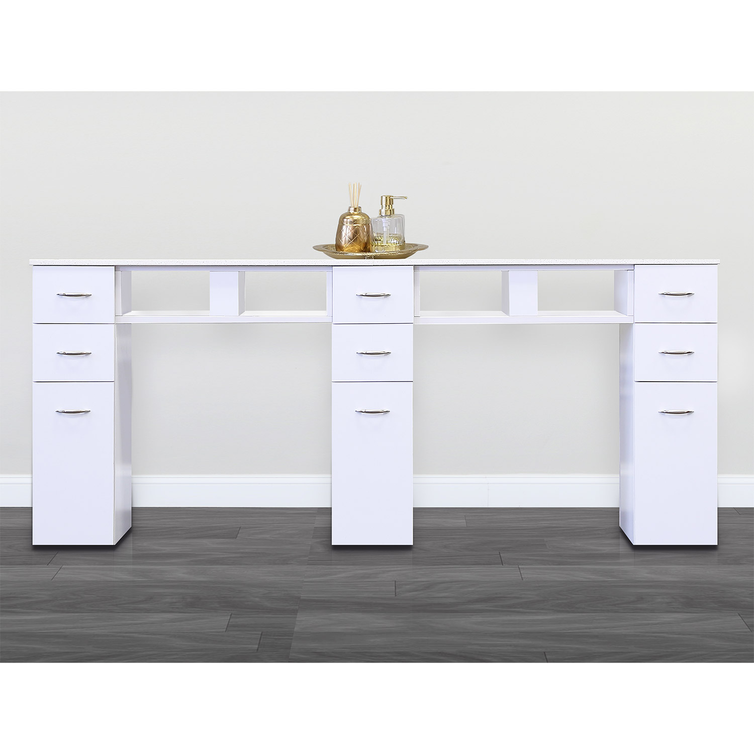 J&A Double Granite Top Nail Table in White alternative product image 1