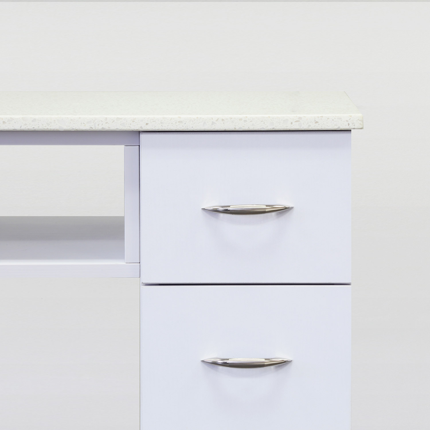 J&A Double Granite Top Nail Table in White alternative product image 3