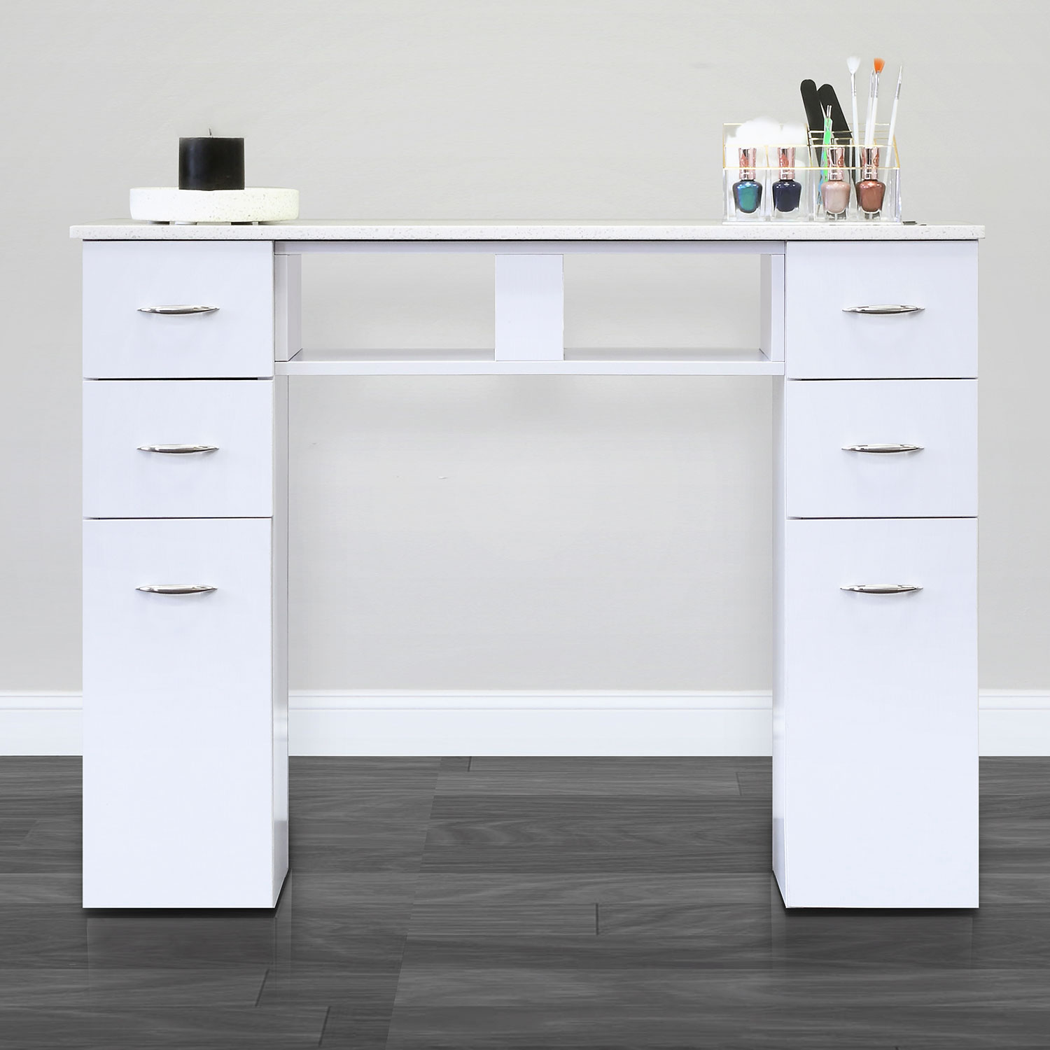 J&A Single Granite Top Nail Table in White alternative product image 1