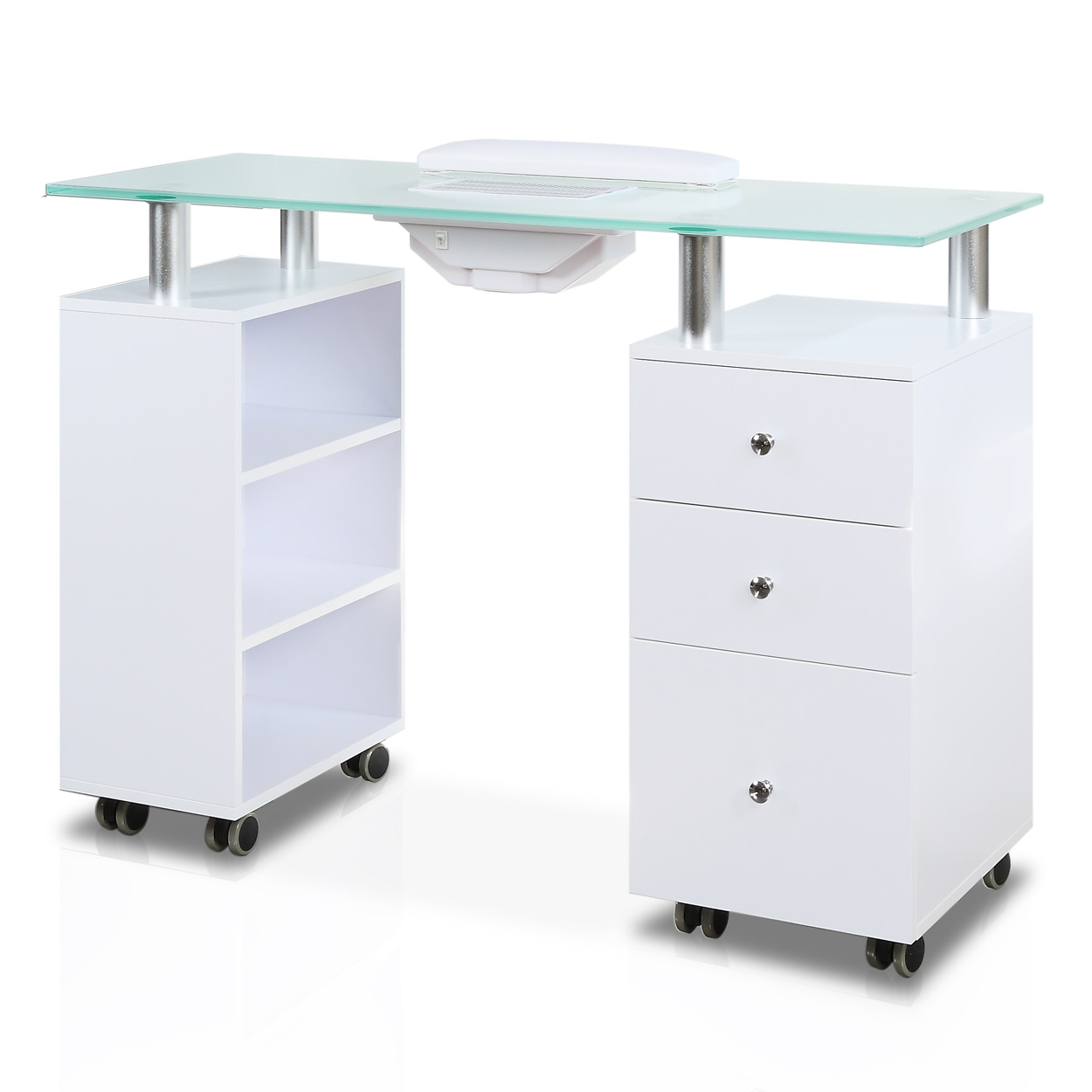 Glass Top Manicure Table with Fan  main product image