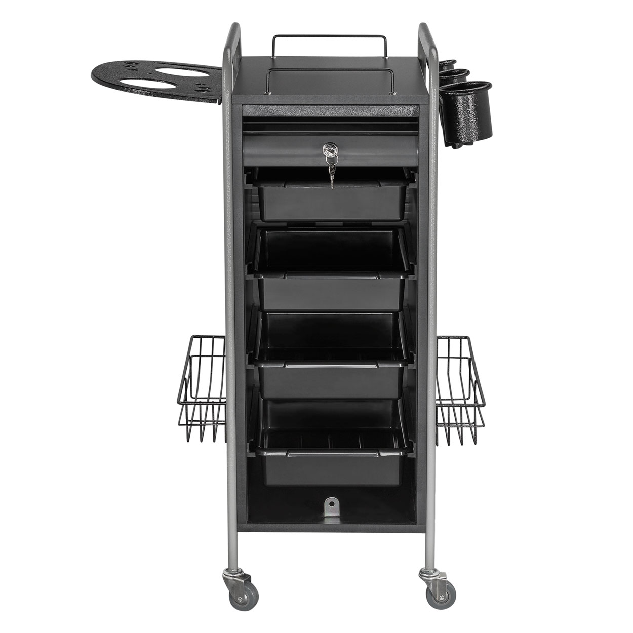 Hair Salon Metal Locking Trolley Cart with Appliance Holder alternative product image 3