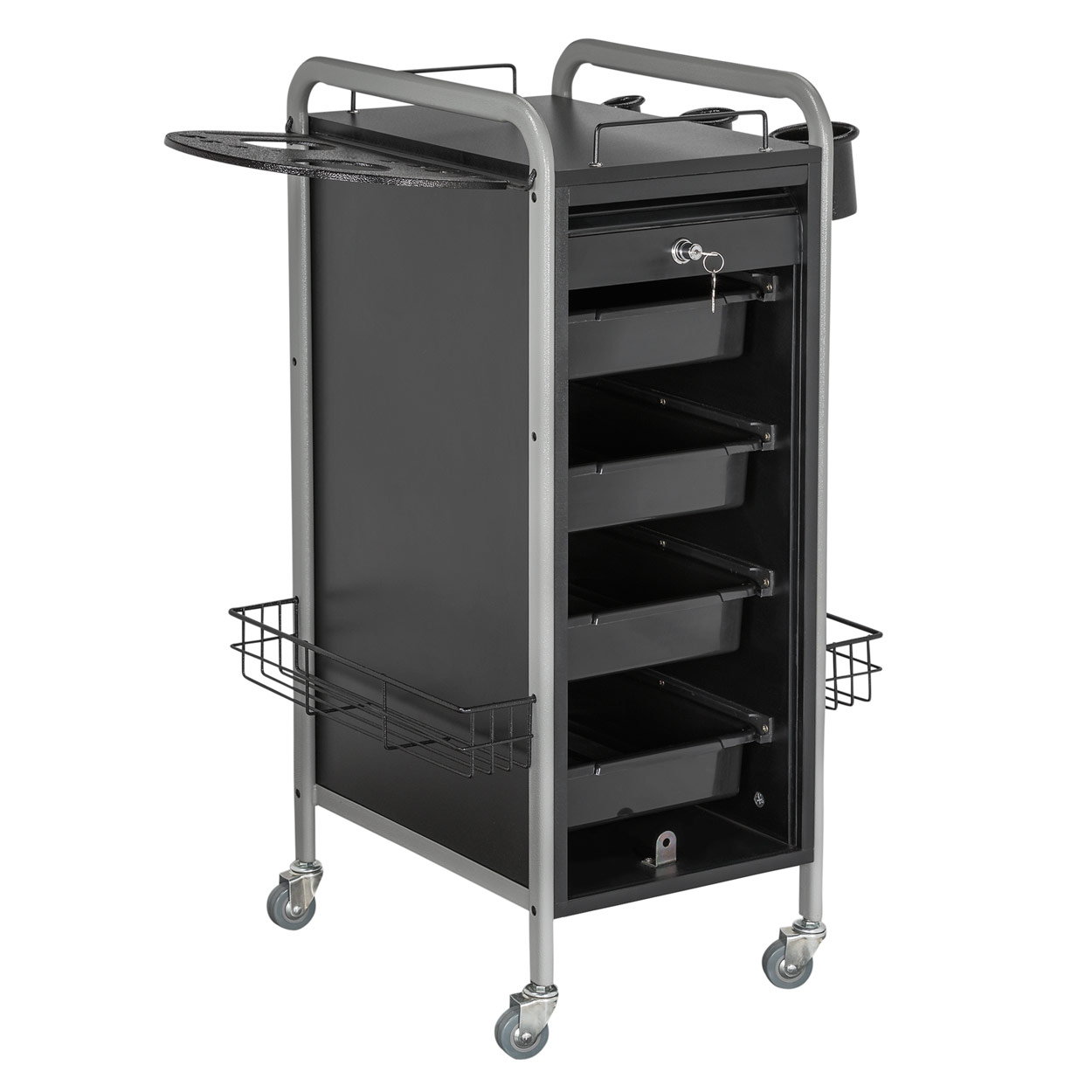 Hair Salon Metal Locking Trolley Cart with Appliance Holder  main product image