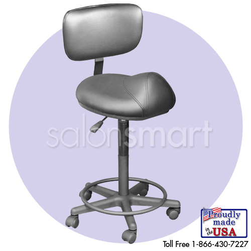 Black Stool w/Back (27-32 in.)  main product image