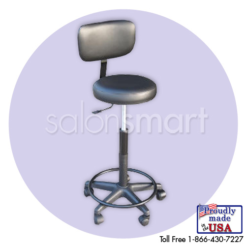 Adjustable Black Stool with Backrest (25-30 in.)  main product image