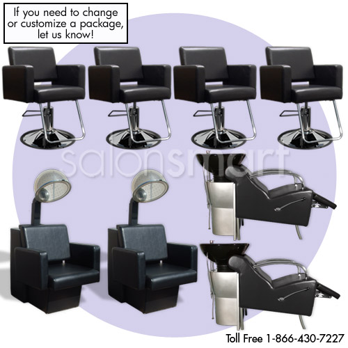Black Havana Basics 4 Station Salon Equipment Package  main product image