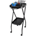 Black Foldway Rolling Salon Service Tray Cart with Towel Holder product image