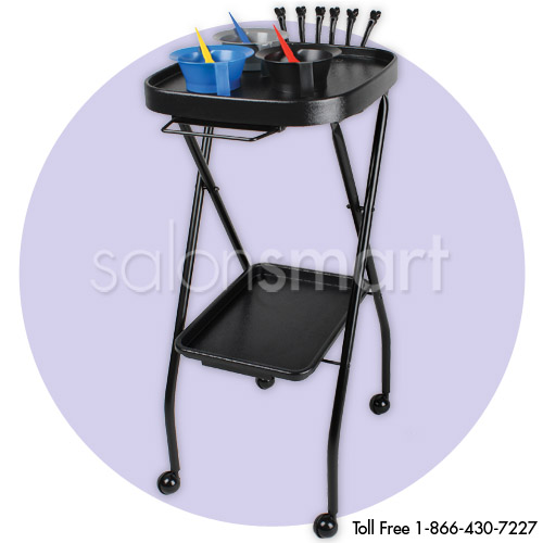 Black Foldway Rolling Salon Service Tray Cart with Towel Holder  main product image
