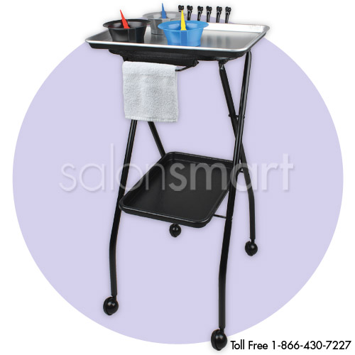 Aluminium Salon Color Tray Foldaway with Towel Holder  main product image