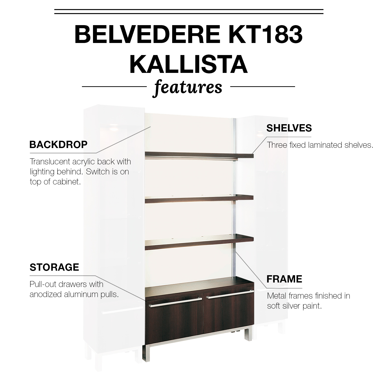 Belvedere KT182/KT183 Kallista Retail Display Cases alternative product image 3