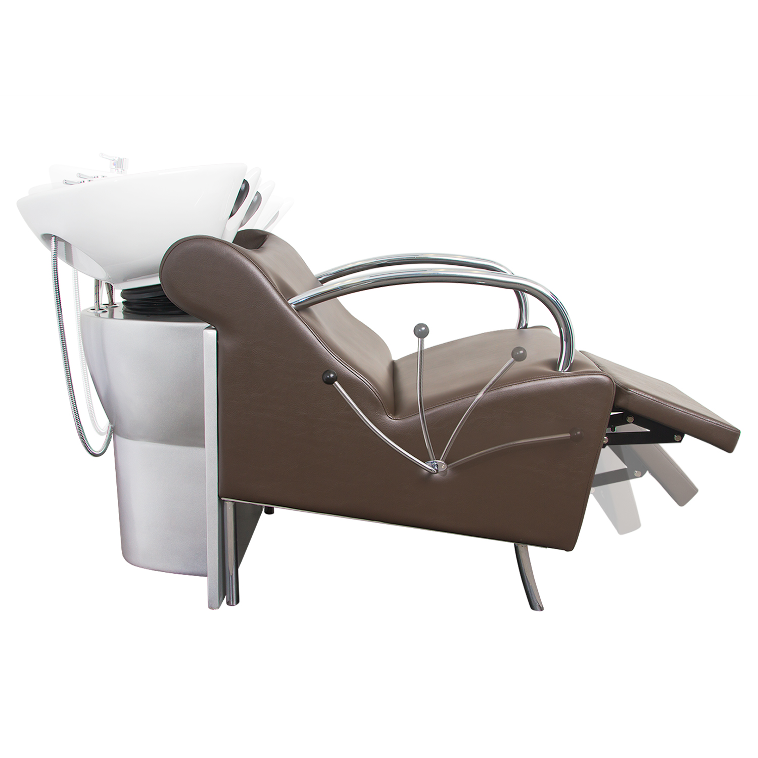 Brown Stockholm Shampoo Chair with White Bowl alternative product image 1