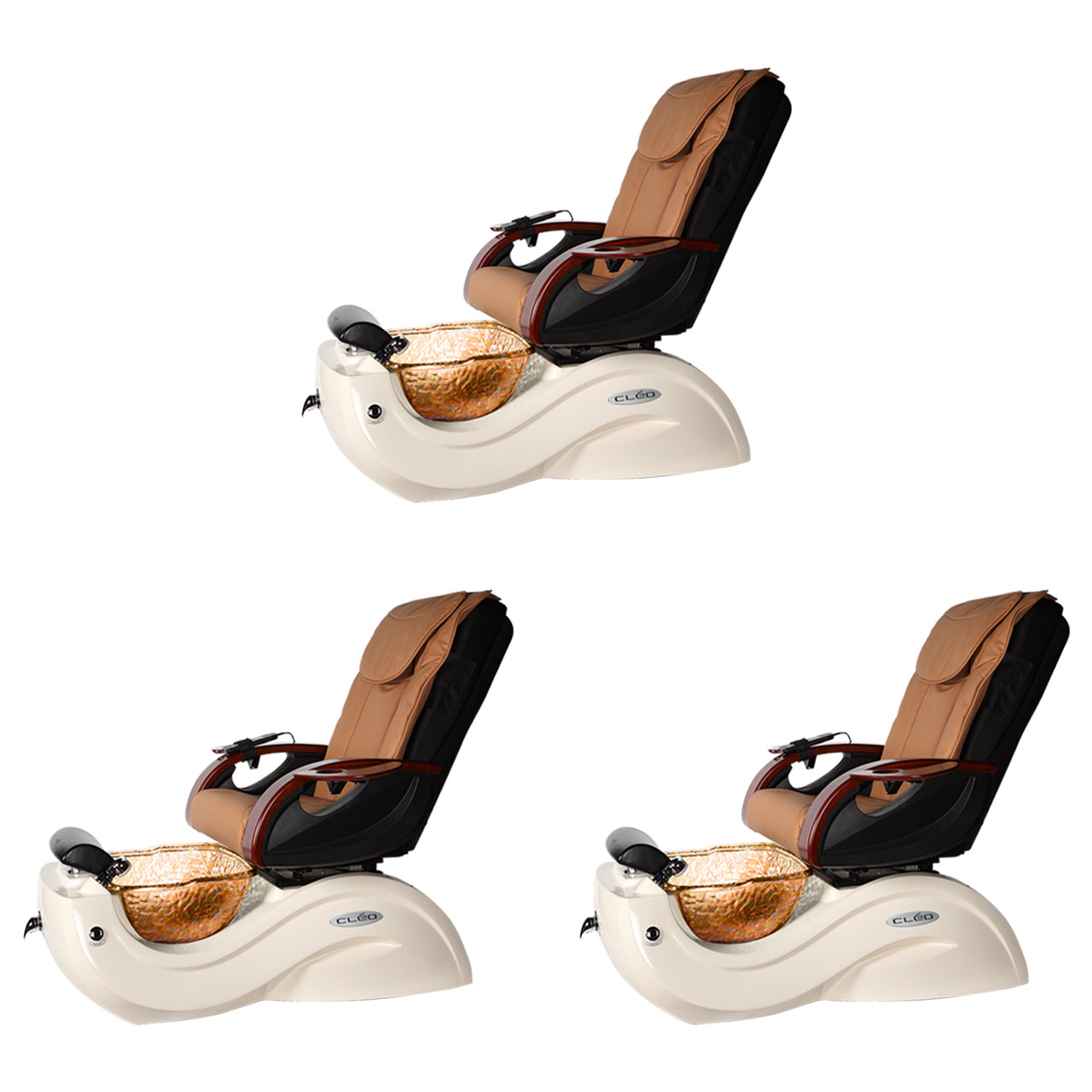 Mocha 3 Cleo GX Spa Chair Nail Salon Furniture Package With 2 Manicure Stations alternative product image 1