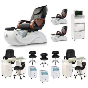 Black 3 Cleo GX Pedicure Spa Chair Package Deal With 2 Manicure Stations product image