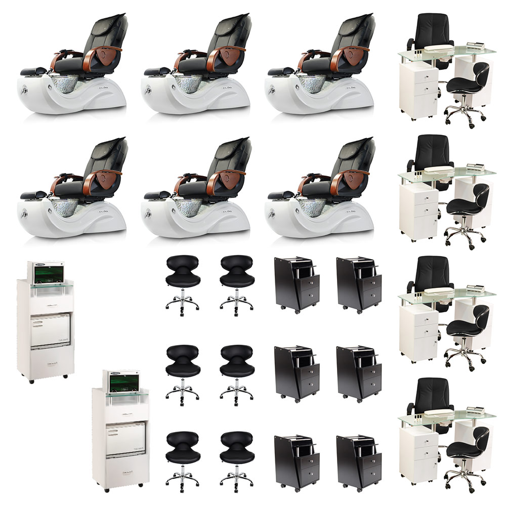 Black 6 Cleo Pedicure Spa Chair & 4 Nail Salon Furniture Package Deal  main product image