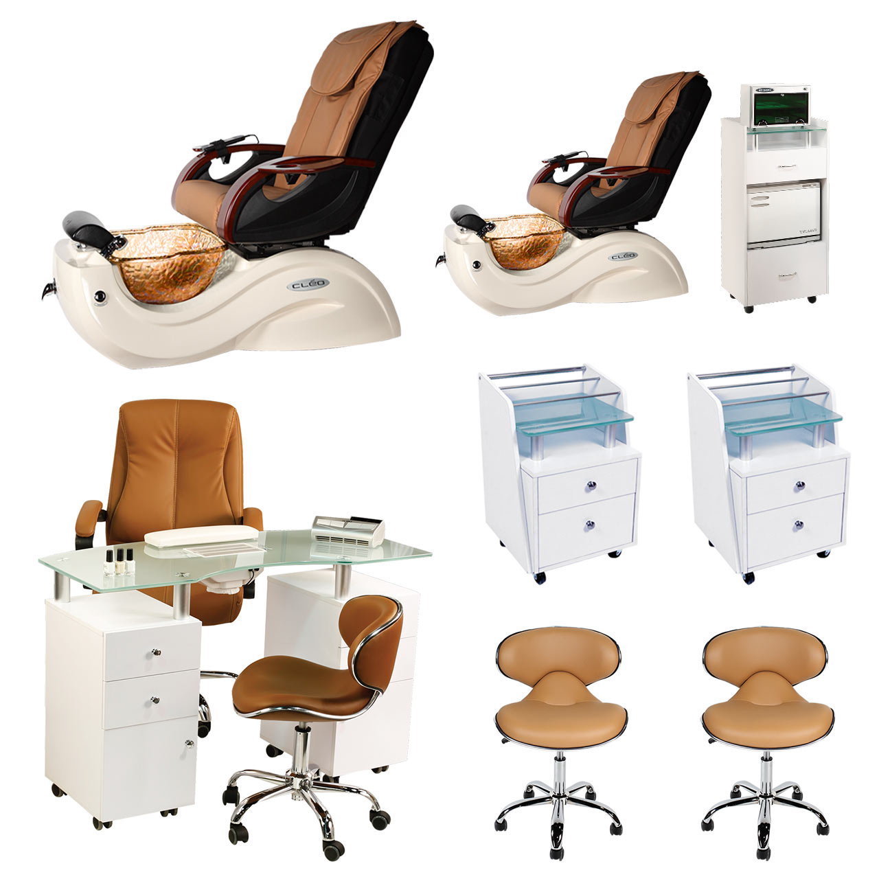 Mocha 2 Cleo GX Nail Salon Furniture Package & Manicure Station  main product image
