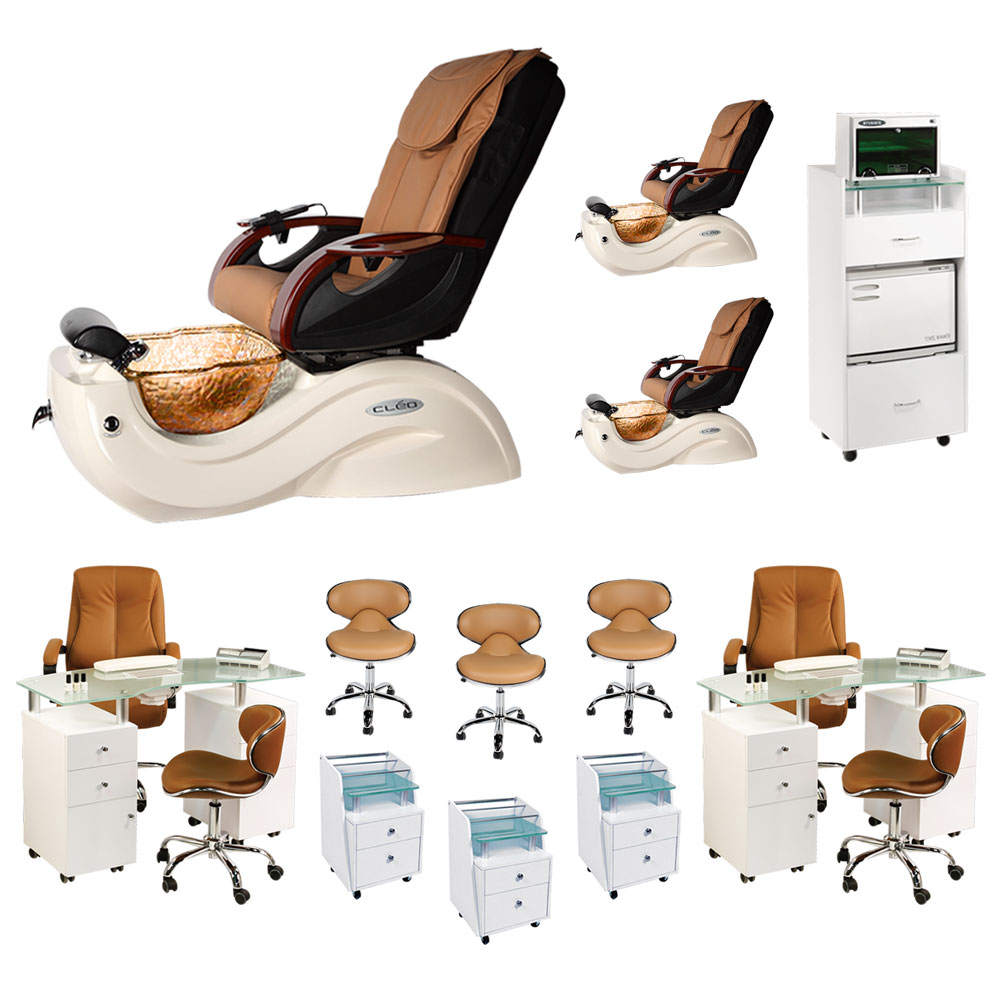 Mocha 3 Cleo GX Spa Chair Nail Salon Furniture Package With 2 Manicure Stations  main product image