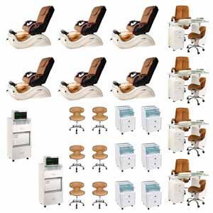 Mocha 6 Cleo GX Nail Salon Furniture Package Deal With 4 Manicure Stations product image