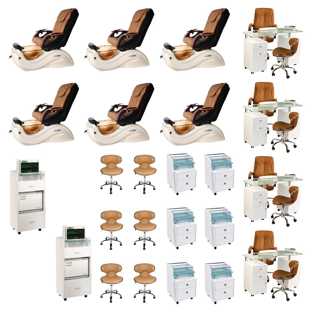 Mocha 6 Cleo GX Nail Salon Furniture Package Deal With 4 Manicure Stations  main product image