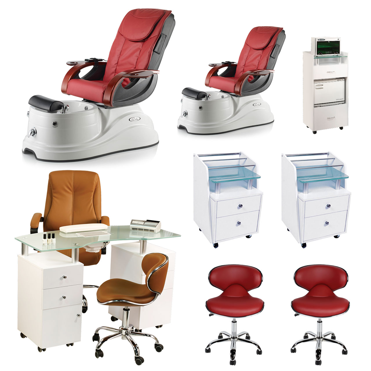 Red 2 Pacific AX Luxury Nail Salon Furniture Package with Manicure Station  main product image