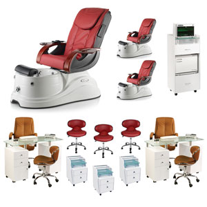 Red 3 Pacific AX Luxury Nail Salon Furniture Package With 2 Manicure Stations product image