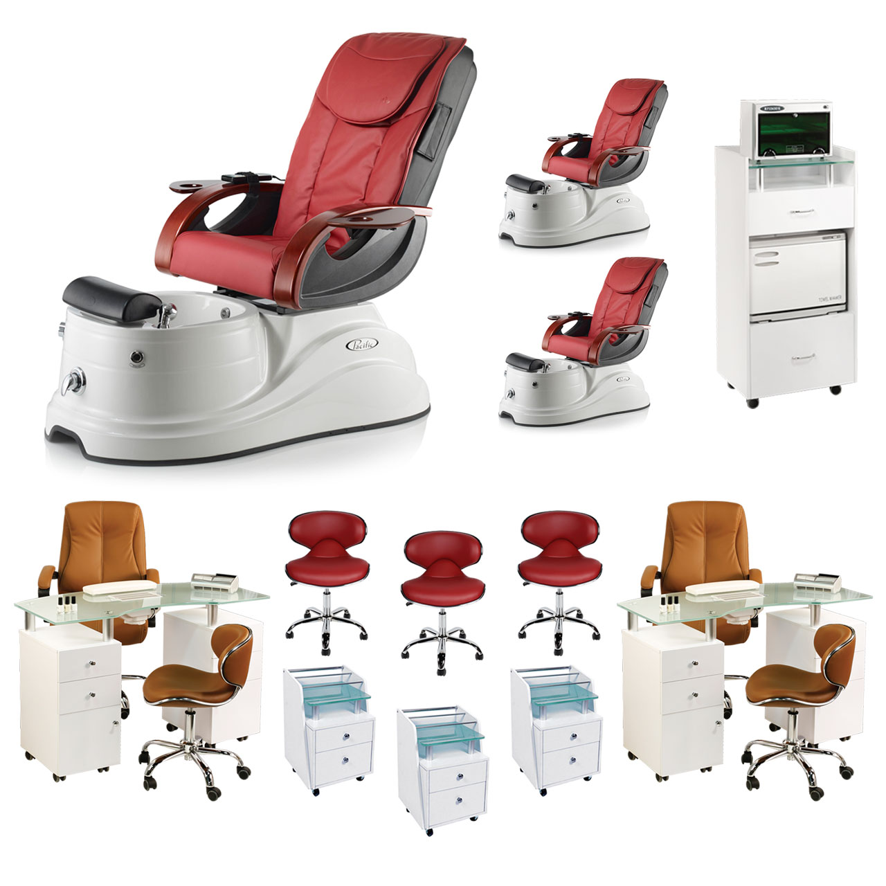 Red 3 Pacific AX Luxury Nail Salon Furniture Package With 2 Manicure Stations  main product image