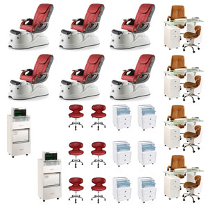 Red 6 Pacific AX Luxury Nail Salon Furniture Package Deal With 4 Manicure Station product image