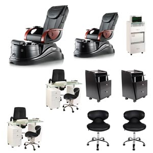 Black 2 Pacific AX Nail Salon Furniture Package Deal with 2 Manicure Stations product image