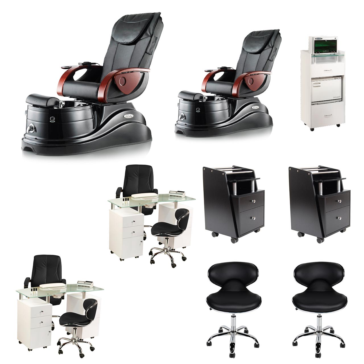 Black 2 Pacific AX Nail Salon Furniture Package Deal with 2 Manicure Stations  main product image