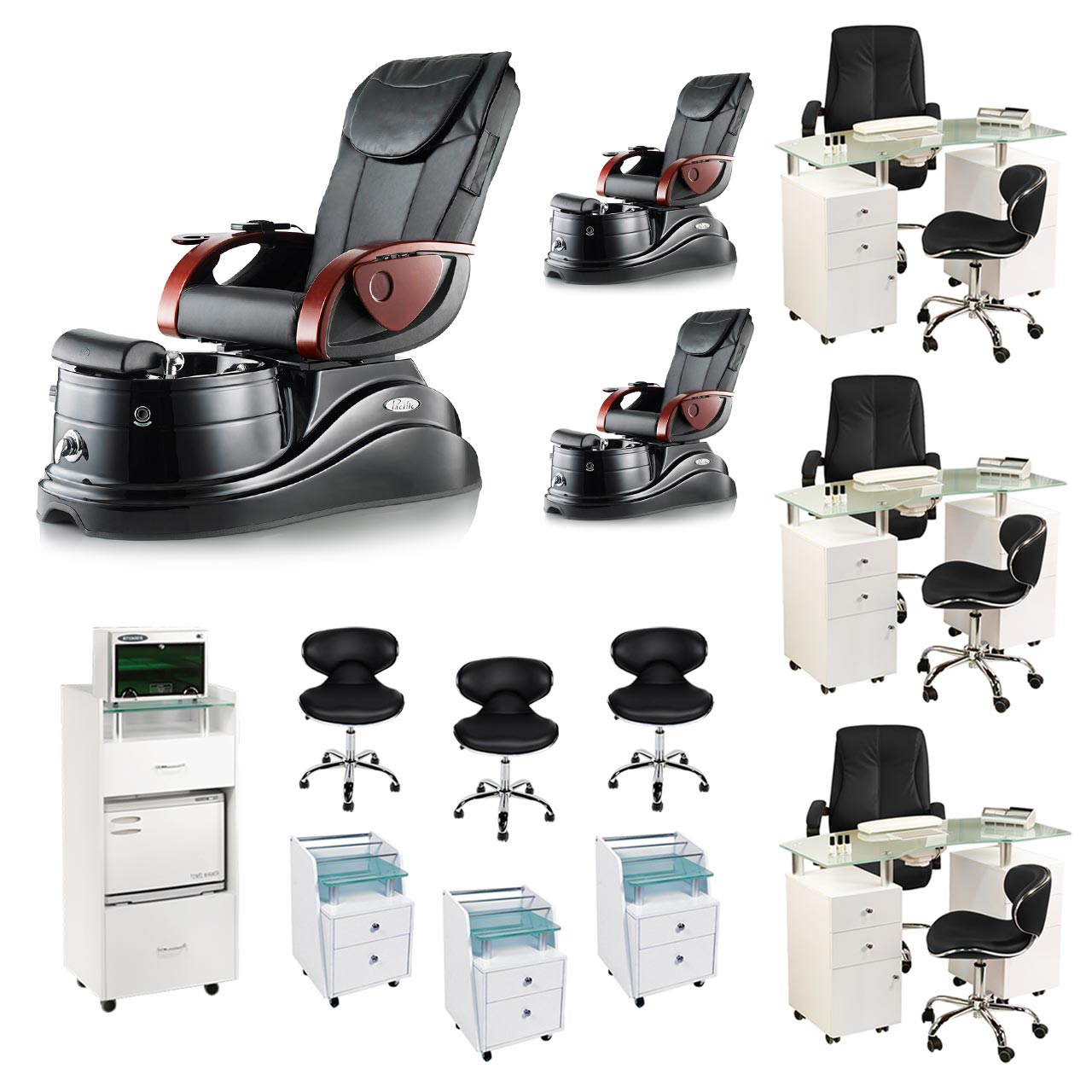 Black 3 Pacific AX Nail Salon Furniture Package Deal  With 3 Manicure Stations  main product image