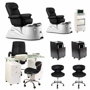 Black 2 Pacific DS Pedicure Chair Package & Manicure Station product image