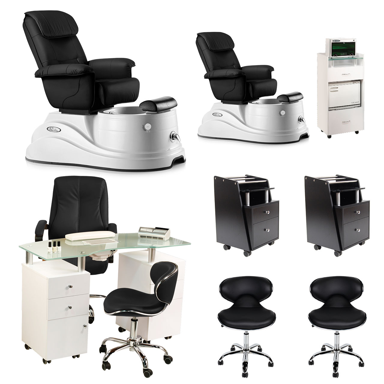 Black 2 Pacific DS Pedicure Chair Package & Manicure Station  main product image