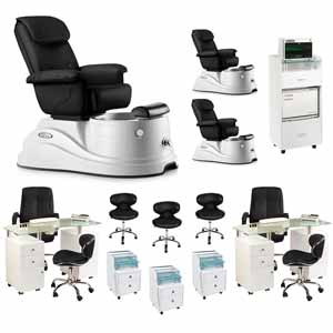 Black 3 Pacific DS Pedicure Chair Package & 2 Manicure Stations product image