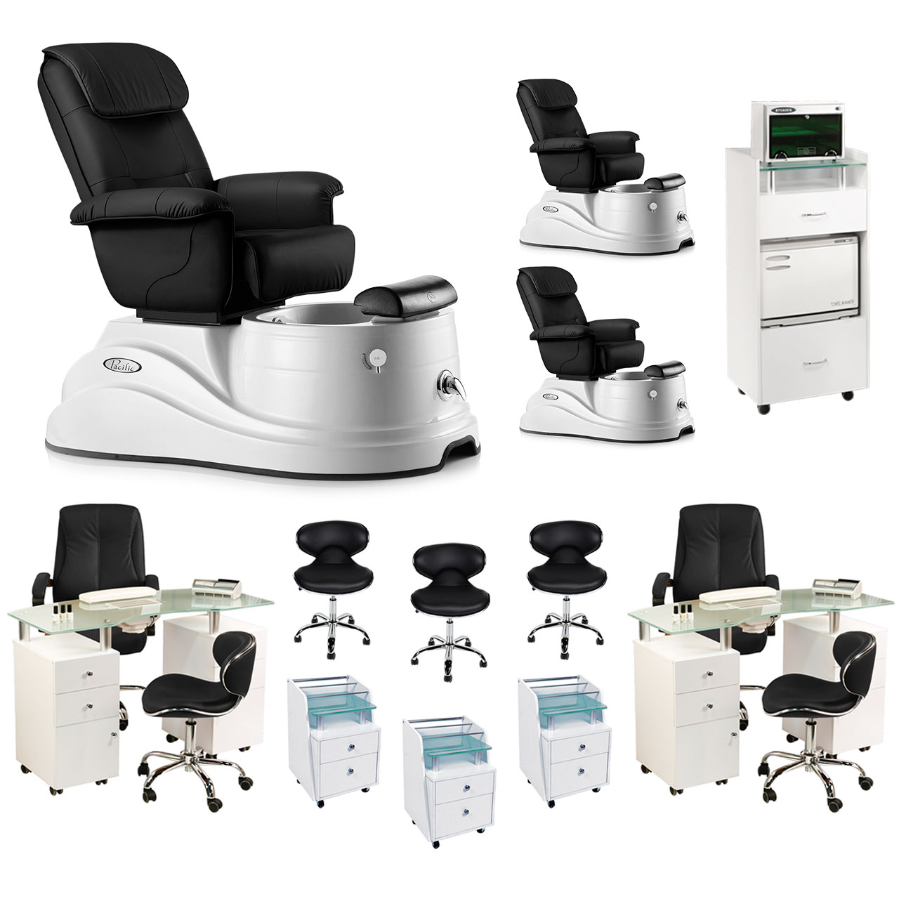 Black 3 Pacific DS Pedicure Chair Package & 2 Manicure Stations  main product image