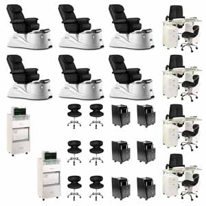 Black 6 Pacific DS Pedicure Chair Package & 4 Manicure Stations product image