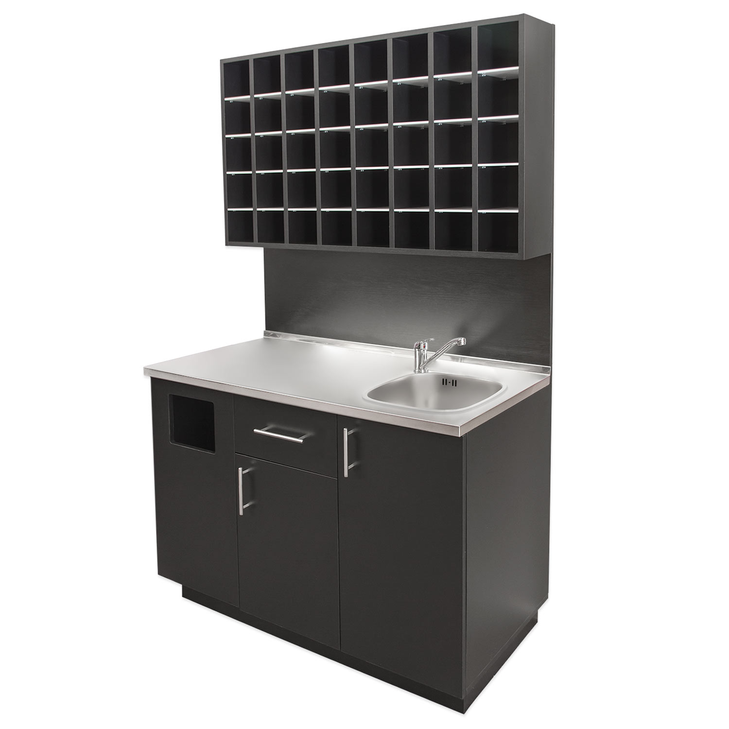 4' Color Mixing Station with Sink and Stainless Steel Counter  main product image