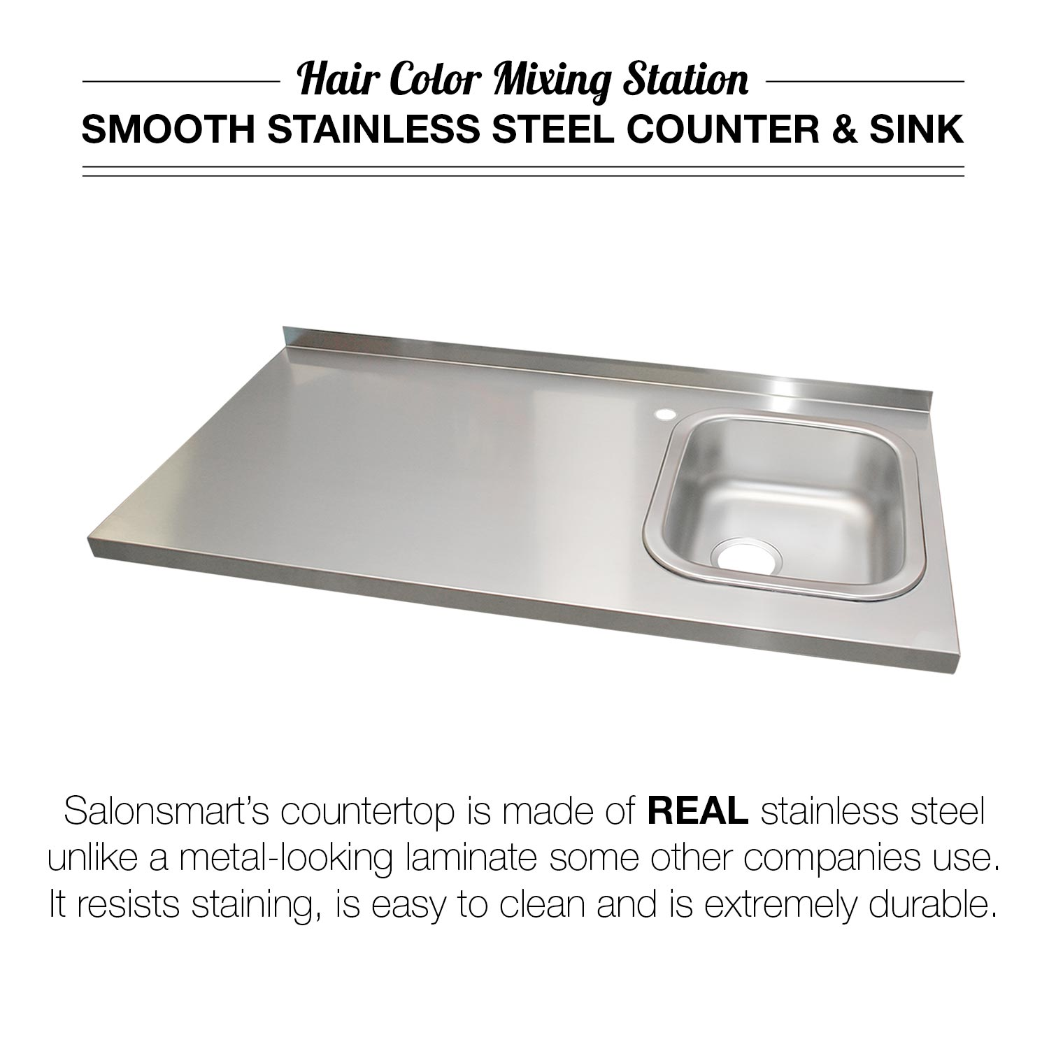 4' Color Mixing Station with Sink and Stainless Steel Counter alternative product image 1