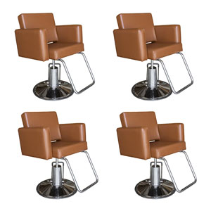 Pibbs Cosmo Styling Chair Package - 4 Salon Chairs in Warm Chestnut product image