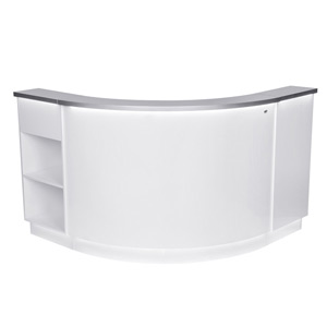 Janus Modular Reception Desk in White with LED Illumination product image